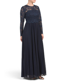 TAHARI BY ASL Long Sleeve Illusion Gown