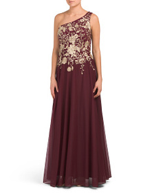 CACHET One Shoulder Embroidered Gown