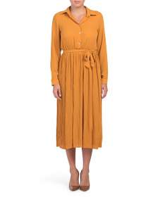 MAGARI Made In Italy Long Sleeve Midi Shirt Dress
