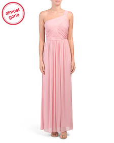 ALFRED SUNG One Shoulder Chiffon Ruched Gown