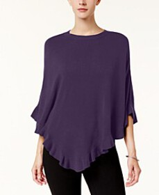 Karen Scott Asymmetric Ruffled Poncho, Created for