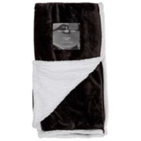 LONDON FOG Solid Plush Throw With Sherpa Lining 50