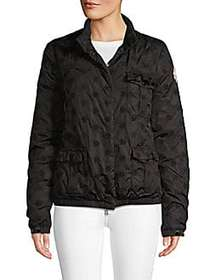 Moncler Embroidered Snap-Front Jacket BLACK