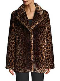 Donna Karan Leopard-Print Faux Fur Coat BROWN LEOP
