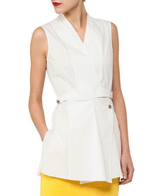 Akris Sleeveless Wrap-Front Buckle Cotton Poplin B