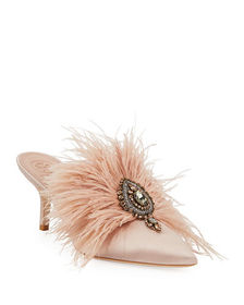 Tory Burch Elodie Feather Embellished Satin Mule
