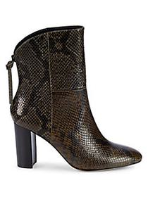 Charles David Snakeskin-Embossed Leather Bootie OL