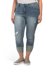 SEVEN7 Plus High Rise Tower Cuff Skinny Jeans