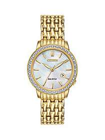 Citizen Eco-Drive Diamond-Accented Goldtone Stainl