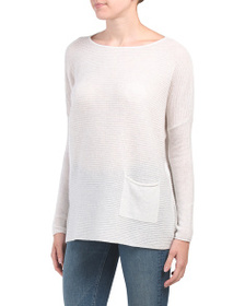 FORTE Cashmere Textured Easy One Pocket Sweater Tu
