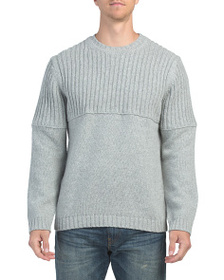 FRENCH CONNECTION Wool Blend Split Crew Sweater