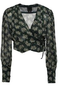 ANNA SUI Cropped printed georgette wrap top