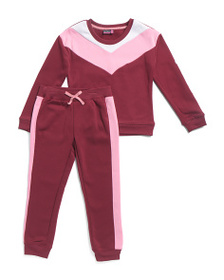 XOXO Little Girls 2pc Retro Fleece Pullover Jogger