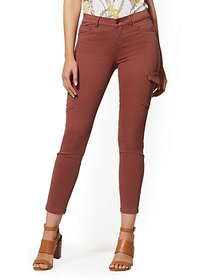 Mid-Rise Cargo Super-Skinny Ankle Jeans - Rust - N