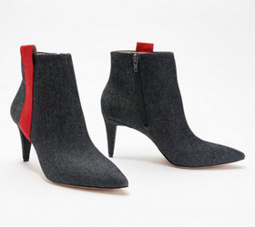 G.I.L.I. Pointed Toe Ankle Booties with Stripe Det