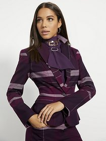 Purple Plaid One-Button Jacket - 7th Avenue - New