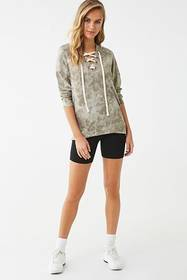 Forever21 Tie-Dye Lace-Up Hoodie