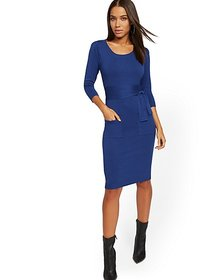 Belted Puff Sleeve Sweater Dress - New York & Comp