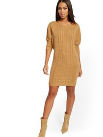 Cable-Knit Dolman Sweater Dress - New York & Compa