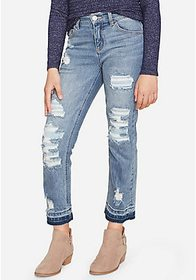 Justice Destructed High Rise Straight Ankle Jeans