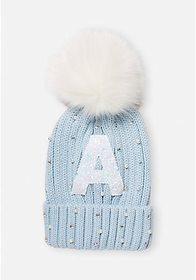 Justice Glitter Initial Pompom Beanie