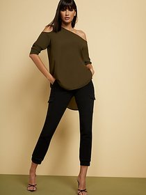 Olive One-Shoulder Tunic Blouse - New York & Compa