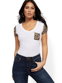 V-Neck Leopard Print-Trim Tee - New York & Company