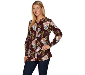 """""""As Is"""" Denim & Co. Regular Floral Printed Button"""