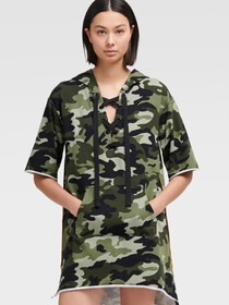 Donna Karan LACE UP CAMO HOODIE DRESS WITH PIPING
