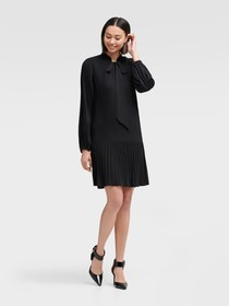 Donna Karan LONG SLEEVE TIE NECK PLEATED SHIFT DRE