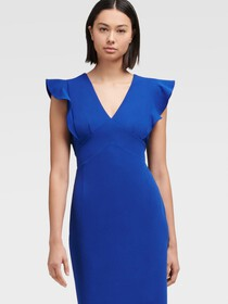 Donna Karan SHEATH DRESS WITH RUFFLE CAP SLEEVE