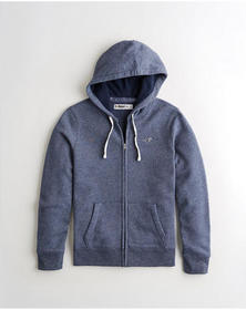 Hollister Full-Zip Hoodie, HEATHER NAVY