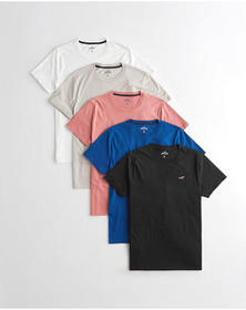 Hollister Must-Have Crewneck T-Shirt 5-Pack, WHITE
