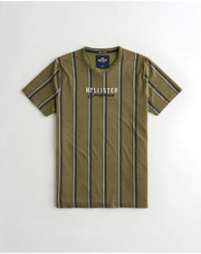 Hollister Stripe Logo Graphic Tee, OLIVE STRIPE