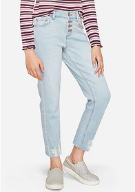 Justice Button Up High Rise Straight Ankle Jean