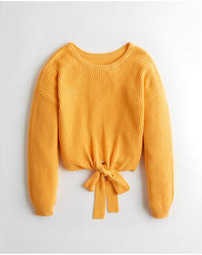 Hollister Reversible Tie Sweater, YELLOW