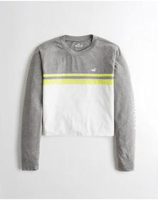 Hollister Colorblock Graphic Tee, GREY