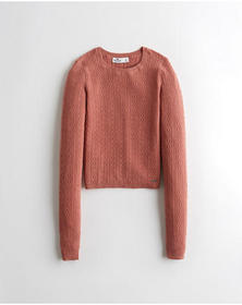 Hollister Open-Stitch Cable Crewneck Sweater, PINK