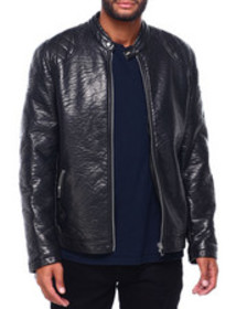 Buyers Picks pu moto jacket with quilted shoulder