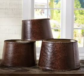 Pottery Barn Leather Tapered Drum Lamp Shade