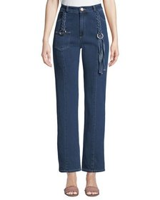See by Chloe Straight-Leg Ankle Jeans with Braided