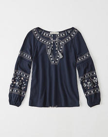 Embroidered Peasant Top, Navy