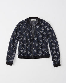 Embroidered Bomber Jacket, NAVY PATTERN