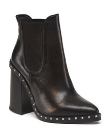 CHARLES DAVID Made In Italy Studded Pointy Toe Lea