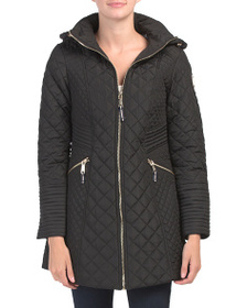 VINCE CAMUTO Long Hooded Quilted Coat