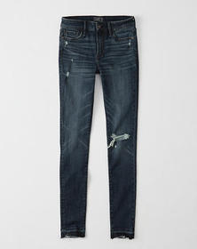 Low Rise Super Skinny Jeans, Ripped Dark Wash