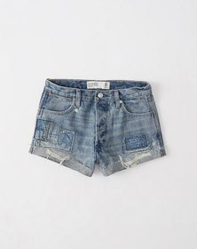 High Rise Tonal Patch Shorts, DESTROYED MEDIUM WAS