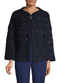 Valentino Embellished Wool Fleece Sweater NAVY BLU