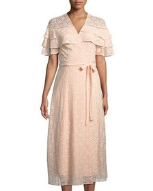 Taylor Tiered-Ruffle Lace Long Wrap Dress