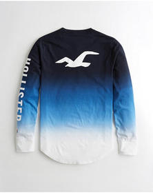 Hollister Ombré Graphic Tee, NAVY TO WHITE OMBRE